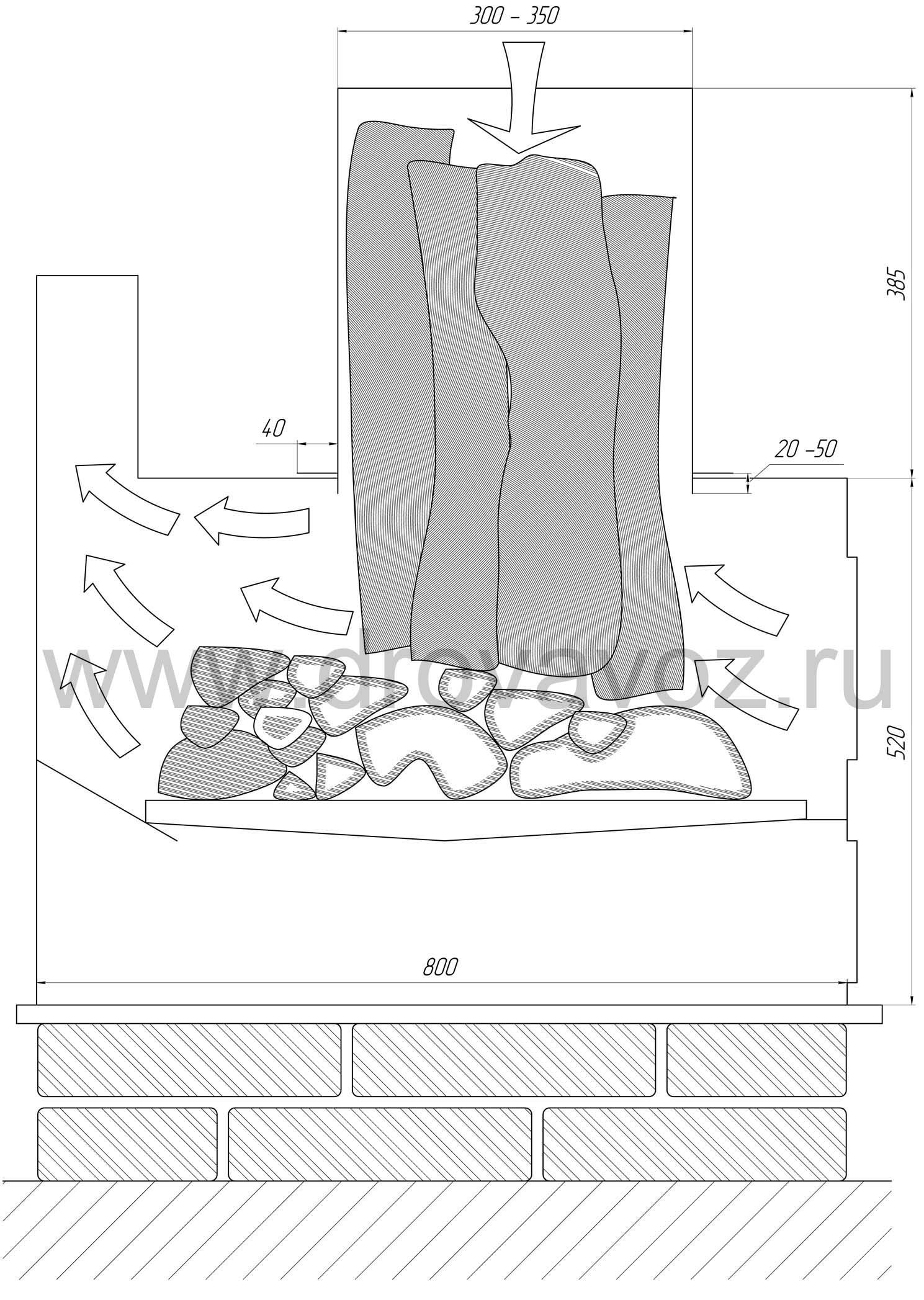 чертеж буржуйки с повышенным КПД